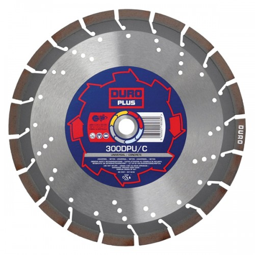 DURO Plus Diamond Blade for Very Hard through to Abrasive Materials 300mm x 20mm - DPU/C